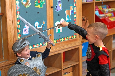 boys sword fighting knights