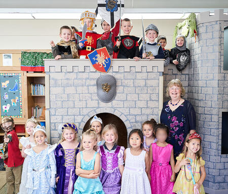 Kindergartners enjoy their castle